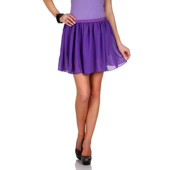 Sijonai sifoniniai mini violetines spalvos