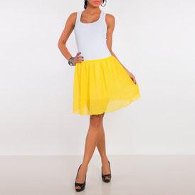 Sijonas sifoninis mini pliusuotas geltonos spalvos
