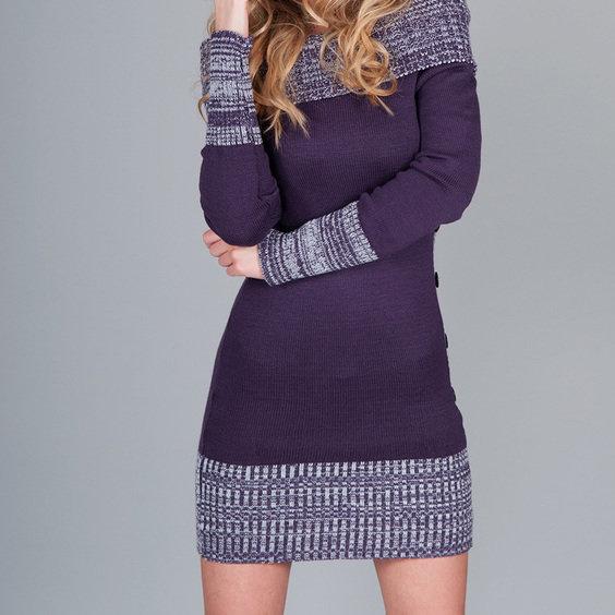 Suknele   megztinis tamsiai violetines spalvos