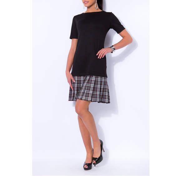 Juodas suknele su klostuotu sijonu pilku baltu