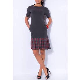 Pilka suknele su klostuotu sijonu pilku raudonu