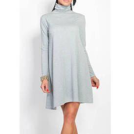Suknele paltejanti su kaklu pilkos spalvos9