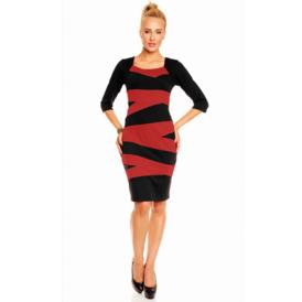 Suknel  su juostomis juoda   raudona