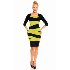 Suknel  su juostomis juoda geltona