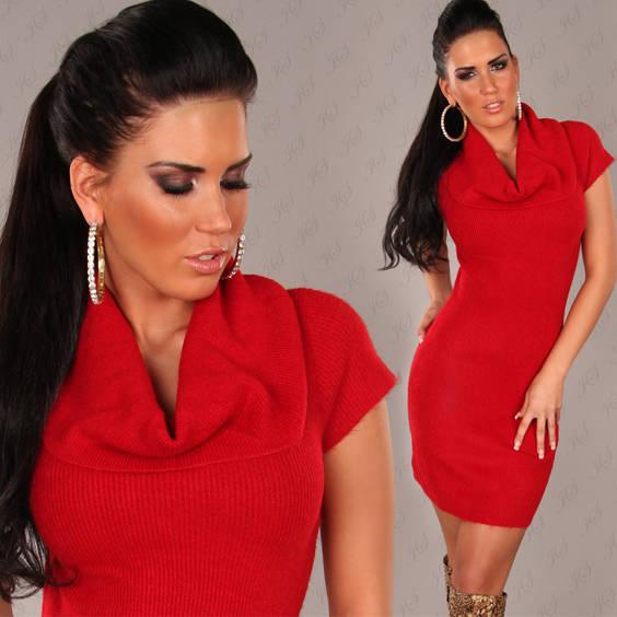 Suknele megzta su apykakle trumpom rankovem raudonos spalvos