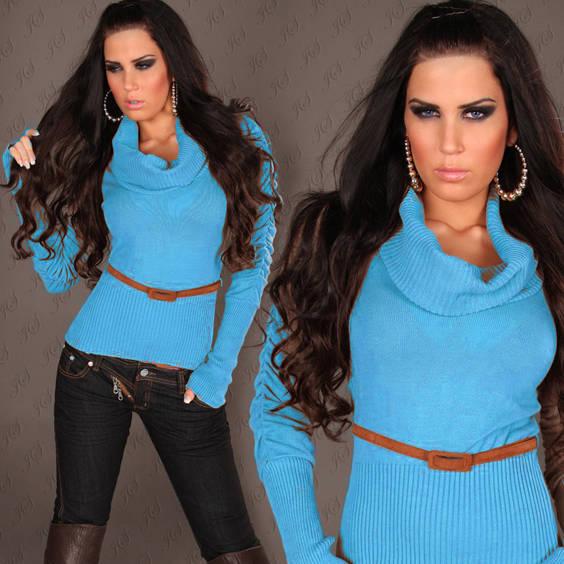 Megztinis su kaklu  parauktomis rankovemis turkio spalvos