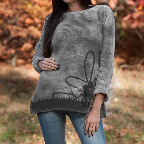 Megztinis su vilna pilkas su tamsiai pilku
