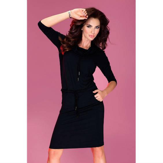 Suknele 3 4 su apykakle juoda1