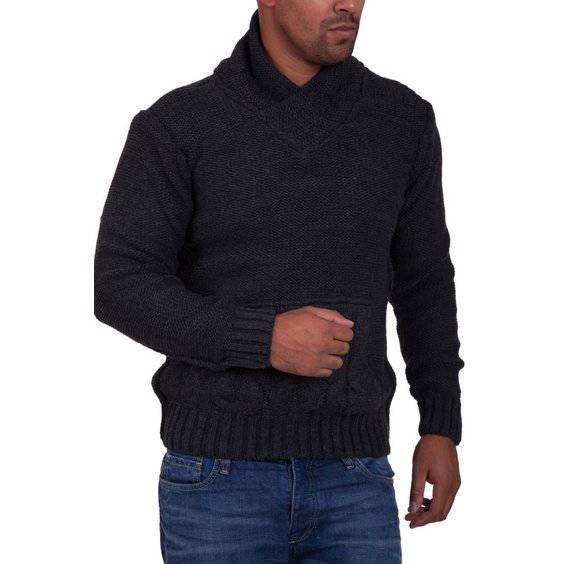 Herren pullover strick carisma herren strickpullover mit schalkragen 7112 anthrazit b2  1